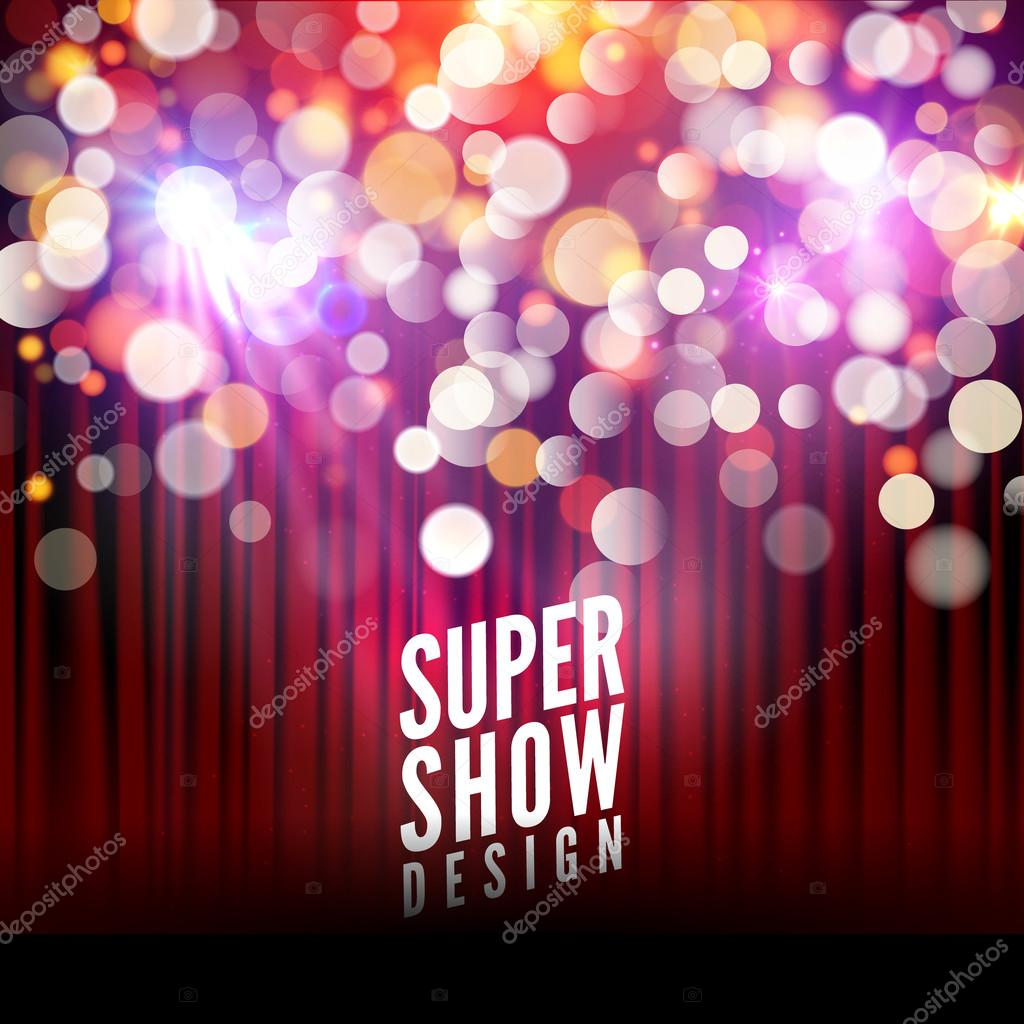 super show poster template with bokeh lights greeting theater
