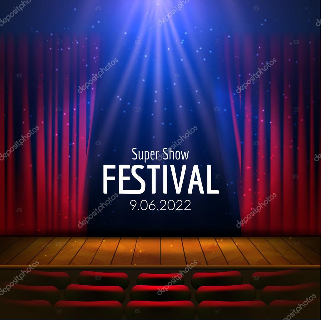 Vector festivo diseño con luces y escenario de madera y asientos ...