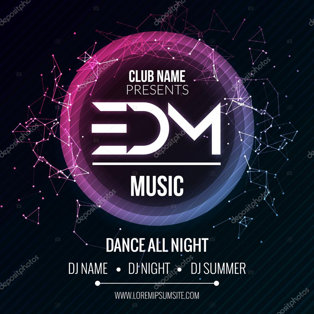 edm club music party template dance party flyer brochure night