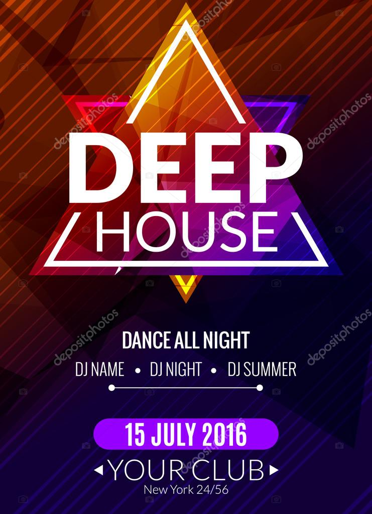 Club electronic deep house music poster musical event dj for What s deep house music