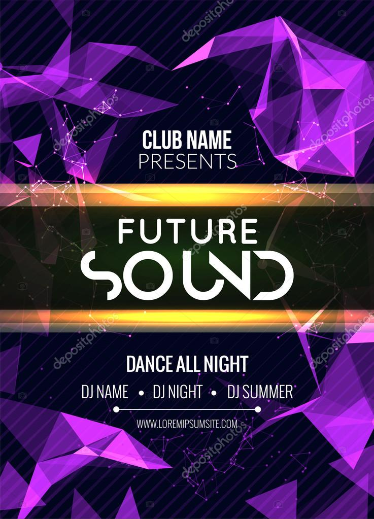 modern future sound party template dance party flyer brochure