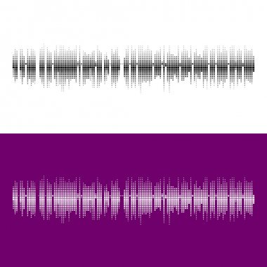 Halftone square vector elements.Vector sound waves. Music round waveform background. You can use in club, radio, pub, party, concerts, recitals or the audio technology advertising background