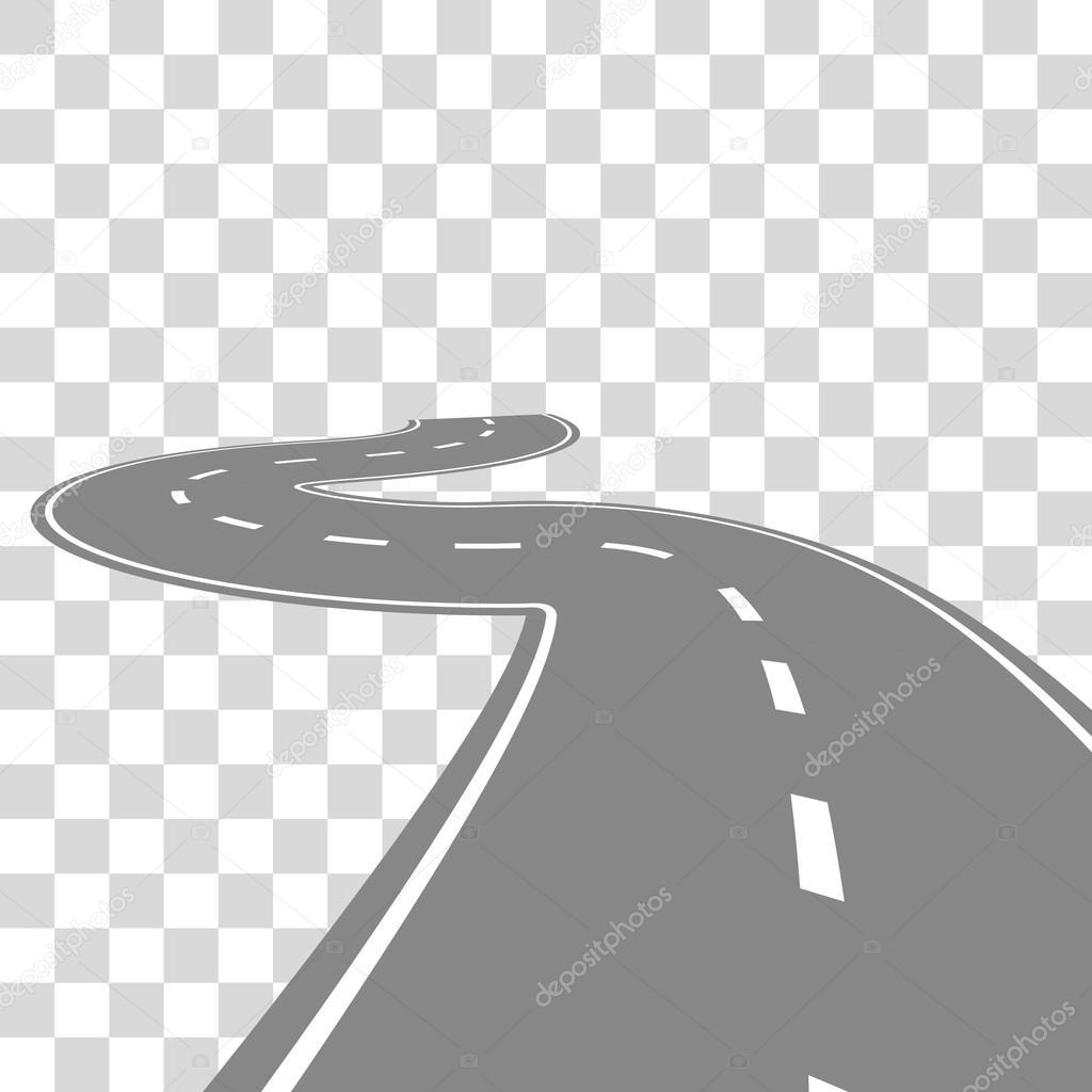 Dessin De Route courbe sinueuse route ou autoroute avec illustration de dessin animé