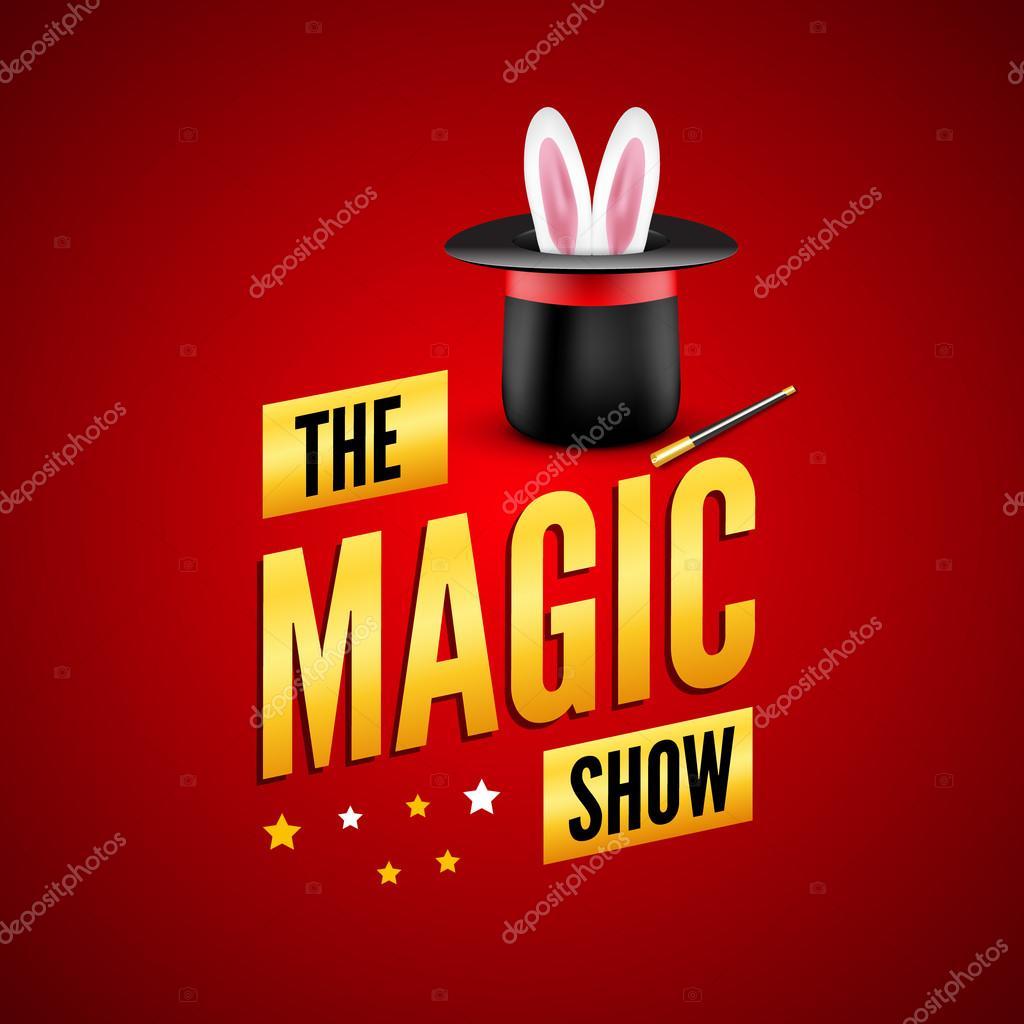 Plantilla de diseño de cartel mágico. Concepto de logo de mago con sombrero 6f63ac53f8d