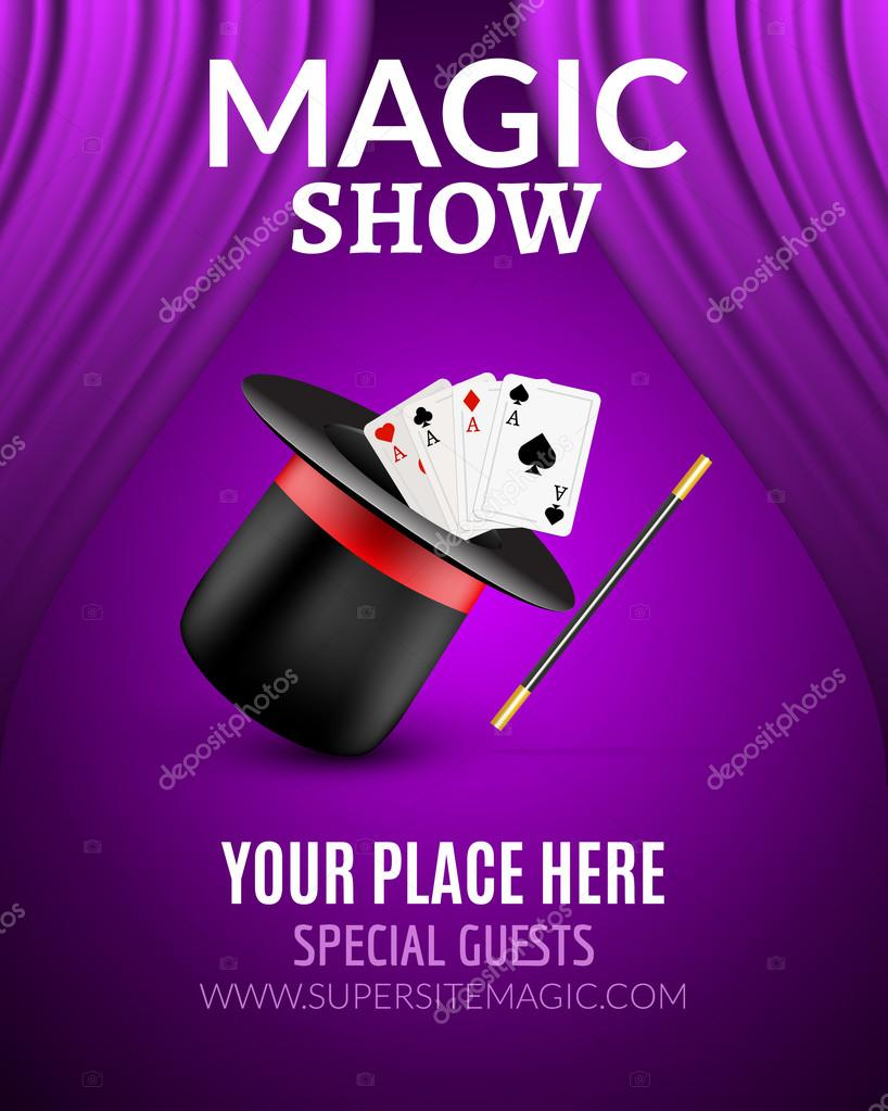 Magic Show poster design template. Magic show flyer design with ...