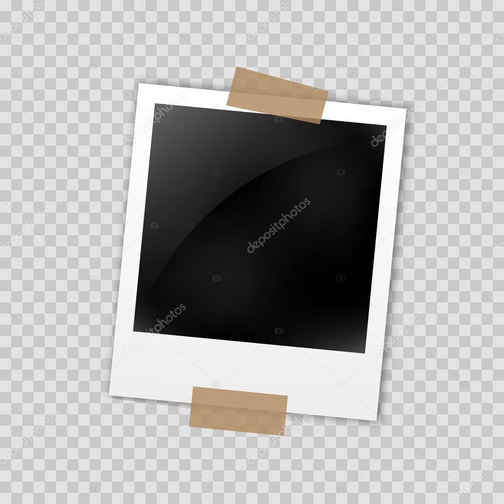 Foto Rahmen Polaroid Template auf transparenten Raster. Isolierte ...