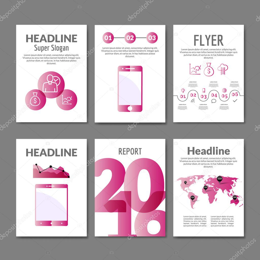 Business Flyer Set Brochure With Infographics Modern Colorful Design Templates Mobile Applications And Online Services Infographic