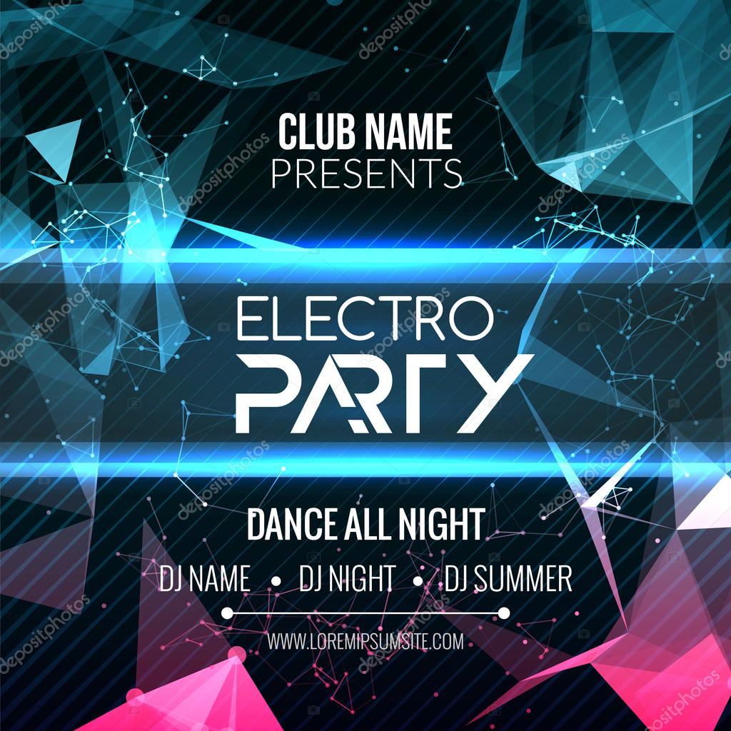 modern electro party template dance party flyer brochure night