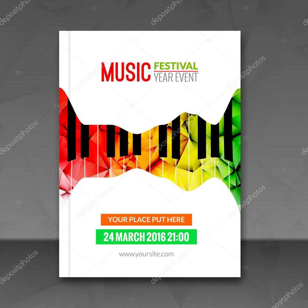 Promotional Flyer Template | Music Festival Poster Background Flyer Template Jazz Piano Music