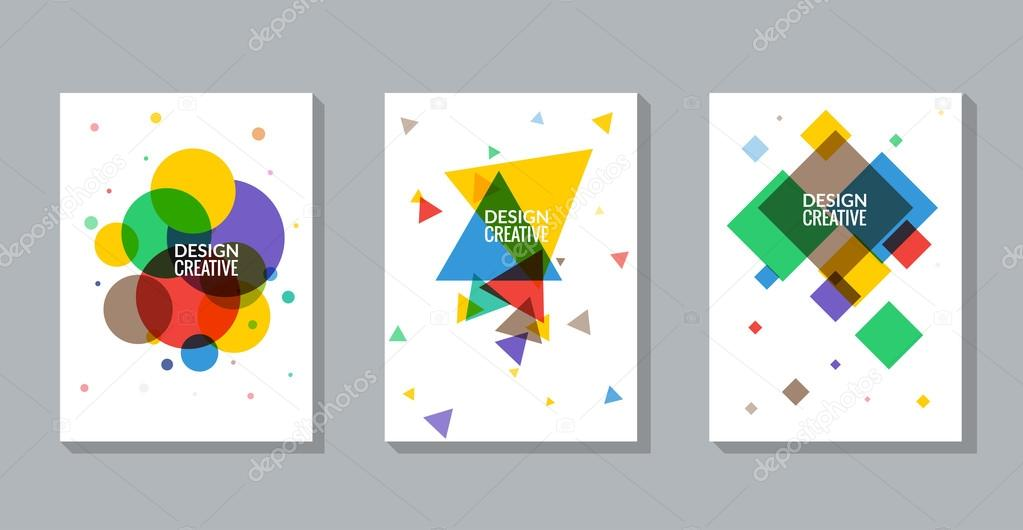 set of vector poster templates abstract colorful background for