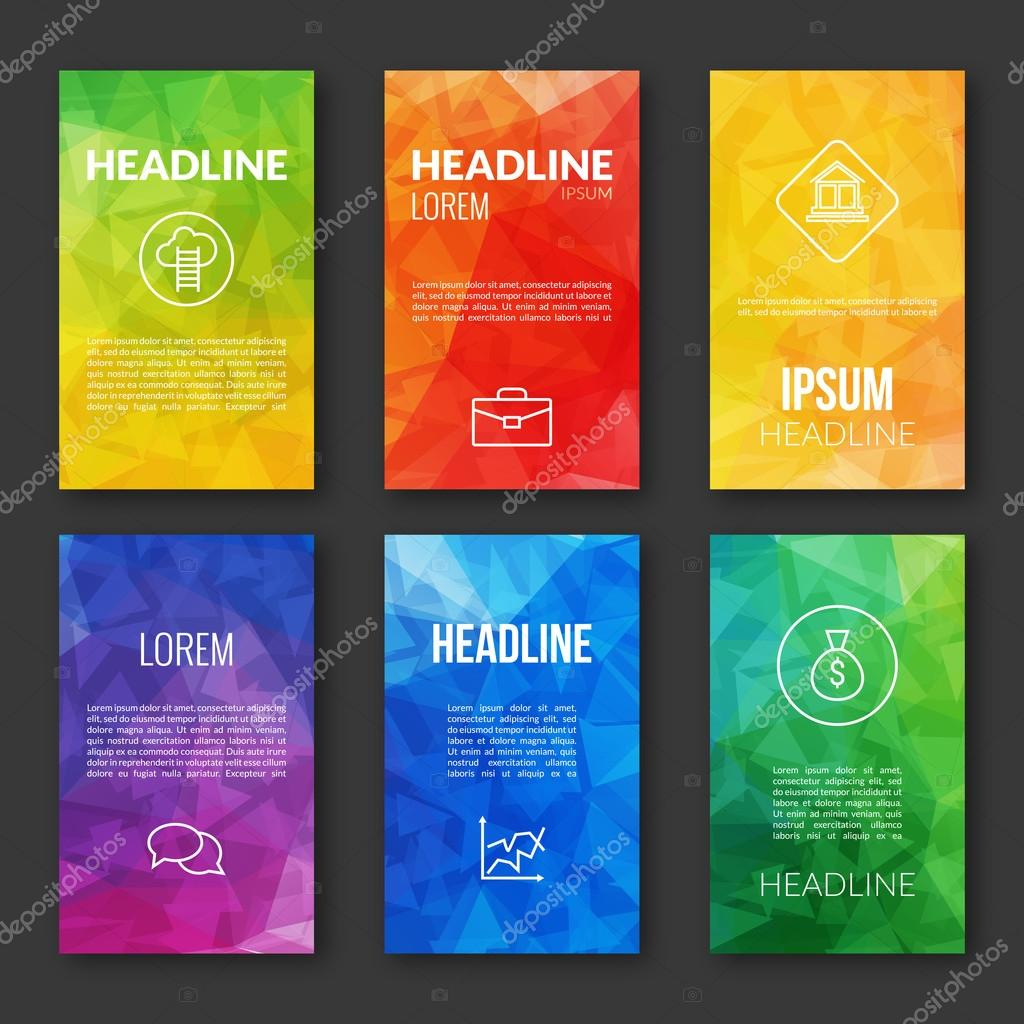 Web Design Set Template, Business triangular banners