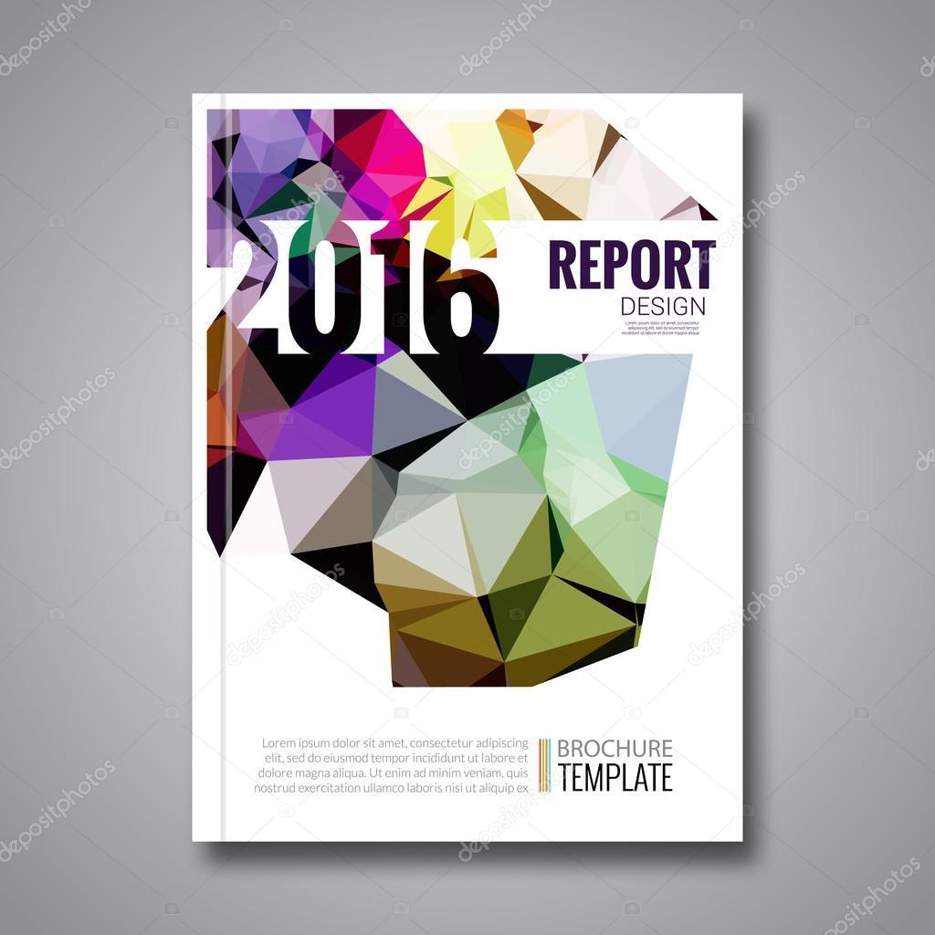 Decken Sie, Bericht bunte Dreieck geometrische Prospekt Design ...