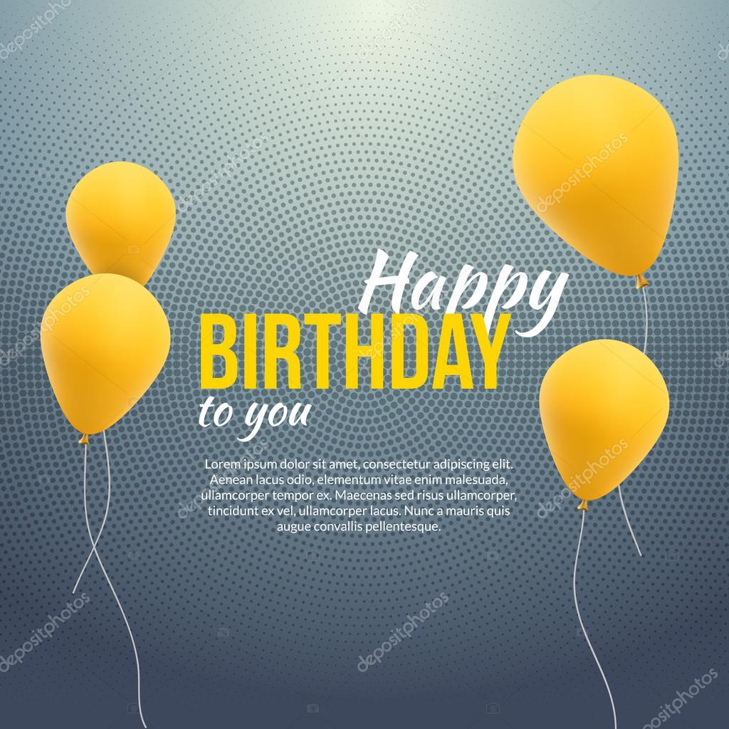 Happy Birthday Poster. Hintergrund mit gelben Ballons und Text ...
