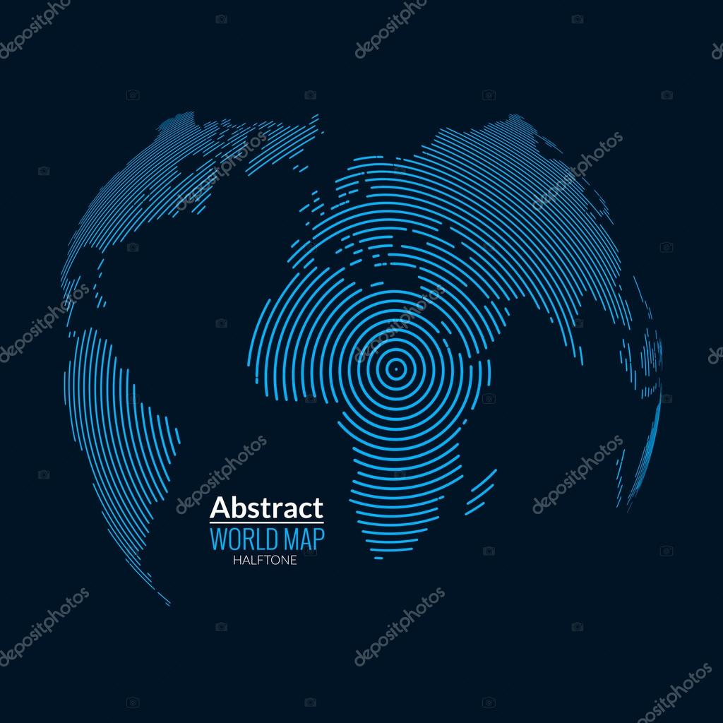 3d vector world map globe planet lines global radial halftone concept vector by vasilyrosca