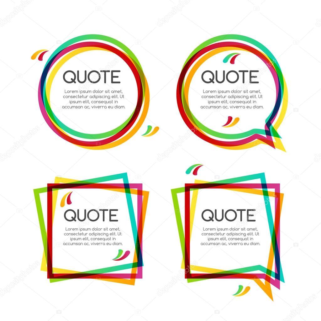 Vector set cita marco, marcos cita colorido para el diseño moderno ...
