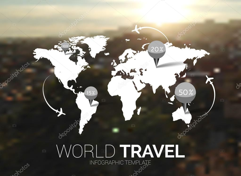 Vector template world map on blurred nature background points vector template world map on blurred nature background points travel concept web mobile interface template corporate website design or background gumiabroncs Choice Image