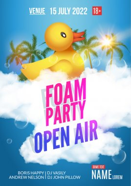 Foam Party summer Open Air. Beach party foam party poster or flyer design template