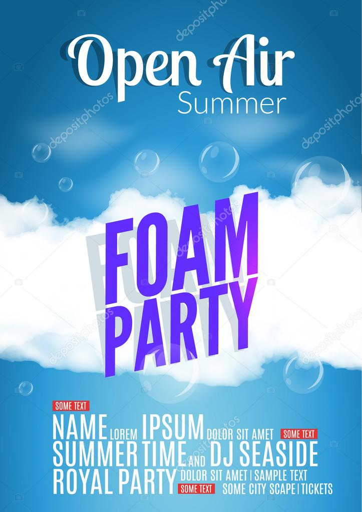 Foam Party summer Open Air. Beach foam party poster or flyer design template