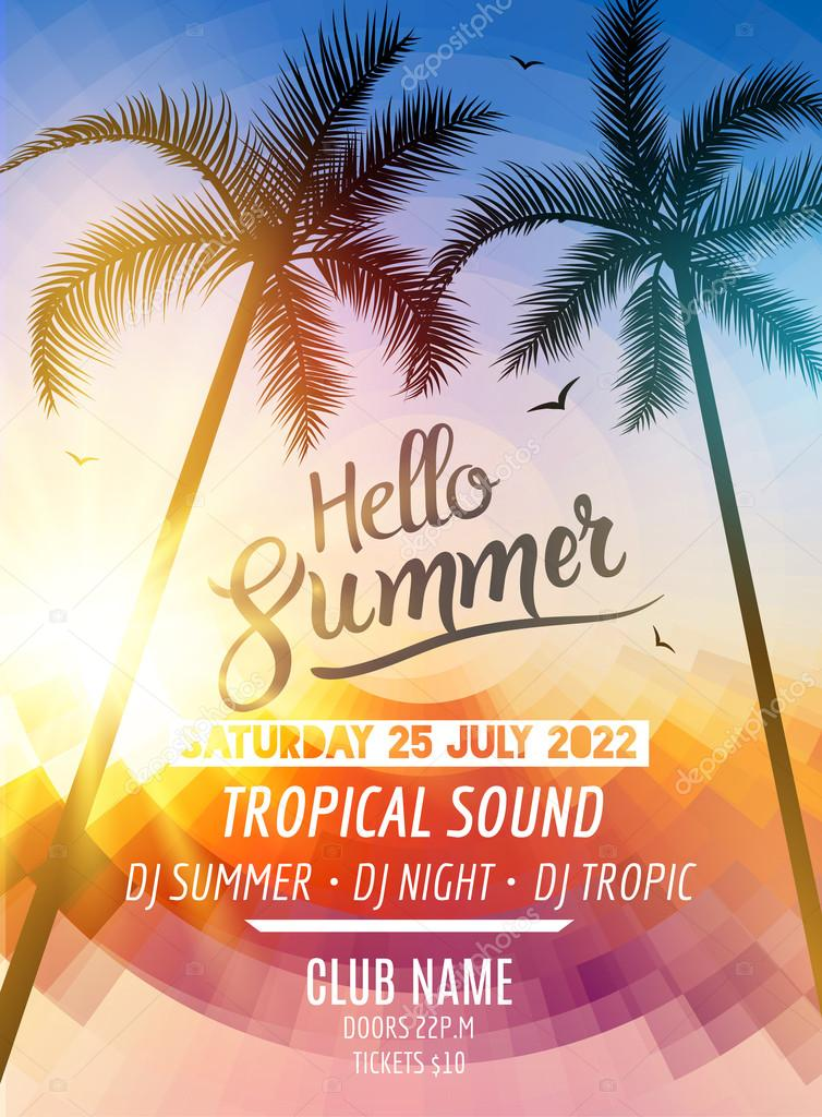 Hello Summer Beach Party Tropic Summer Fun Vacation And