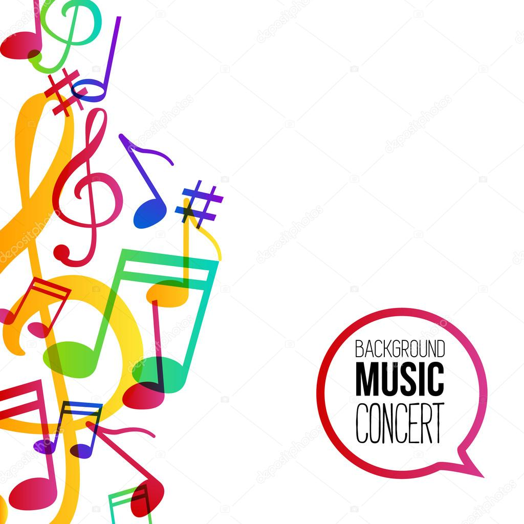music background musical background with musical notes vector rh depositphotos com colorful musical notes vector free Music Notes