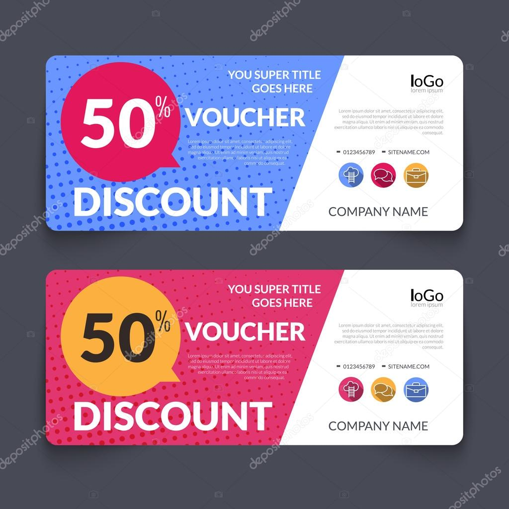 discount voucher design template with colorful halftone pattern