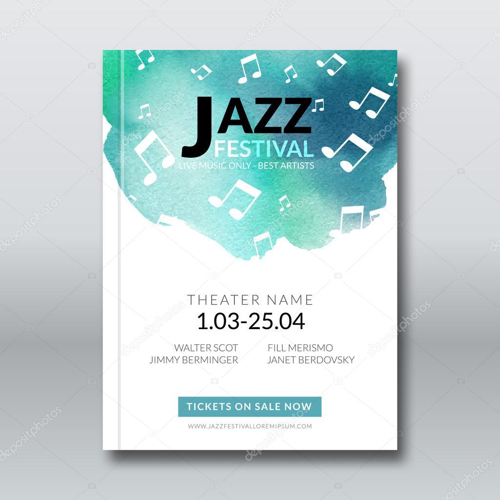 Jazz-Musik-Vektor-Plakat-Vorlagen eingestellt. Handgezeichnete ...