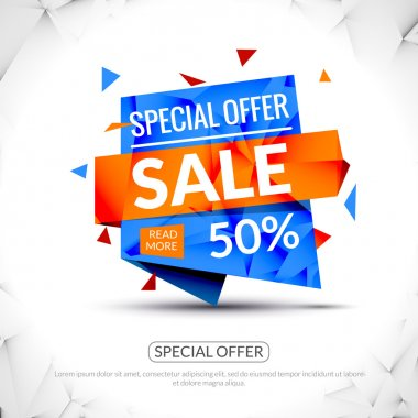 Super Big Sale paper origami banner. Sale background. Big sale tag. Sale advertising coupon. Sale concept. Huge Sale and special offer. 50 percents off. Vector illustration.