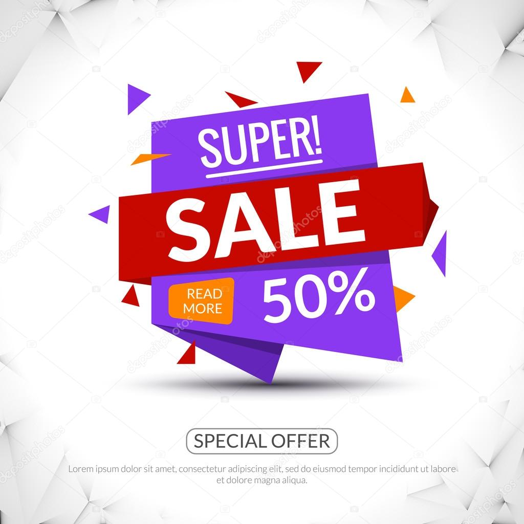 Super Big Sale paper origami banner. Sale background. Big sale tag. Sale poster. Sale vector. Huge Sale and special offer. 50 percents off. Vector illustration.
