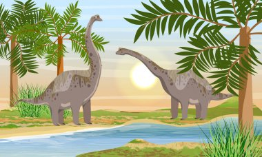 A pair of larger brachosaurs dinosaur on the river bank. Prehistoric flora and fauna. Realistic vector landscape