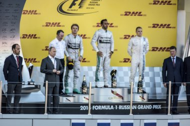 The podium of the Grand Prix of Russia. The Russian President du