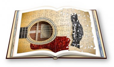 3D render of a wooden acoustic guitar on opened photobook isolated on white background.