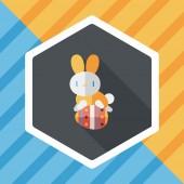 Velikonoční zajíček ploché ikony s dlouhý stín, eps10