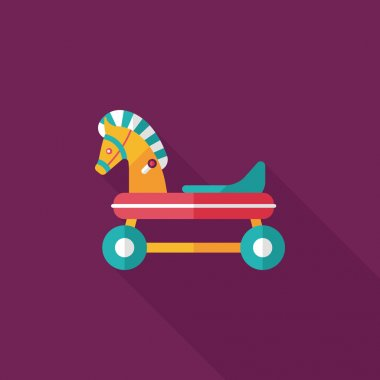 Horse toy car flat icon with long shadow,eps10