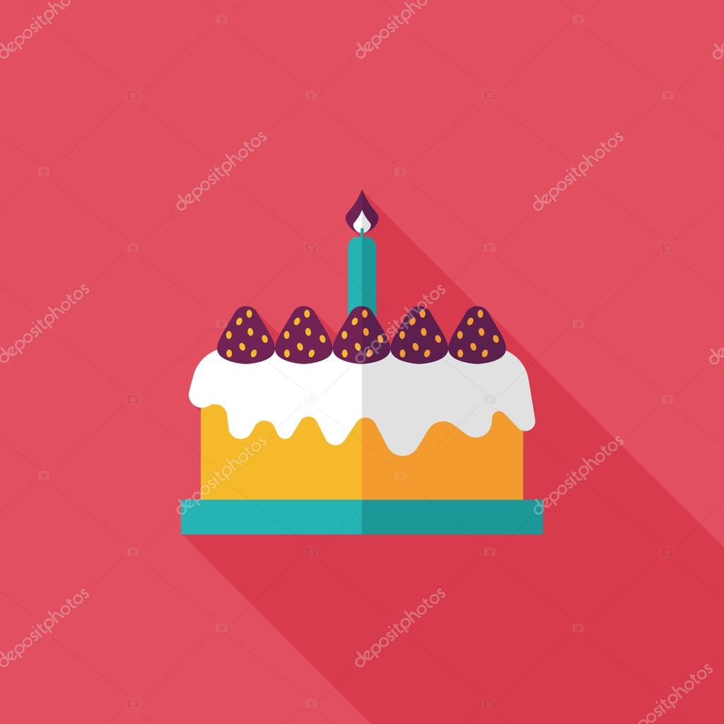 Birthday cake flat icon with long shadoweps10 Stock Vector