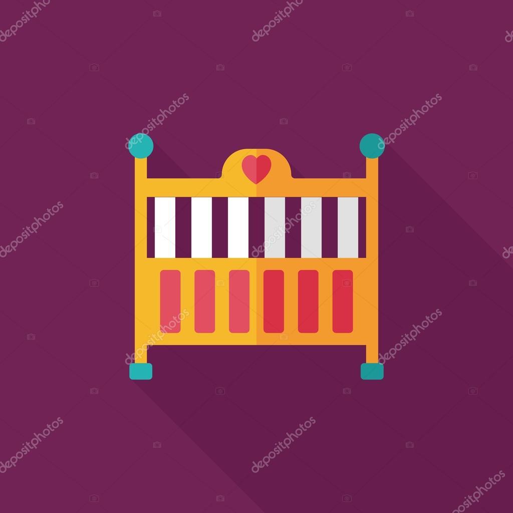 icono de plano bebé cuna cama con sombra, eps10 — Archivo Imágenes ...