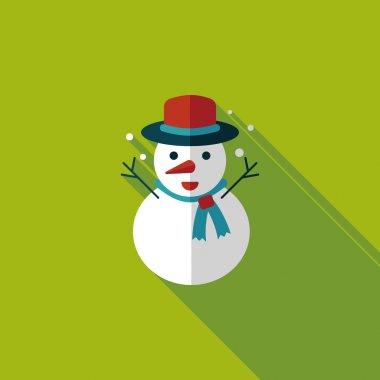 snowman flat icon with long shadow,eps10