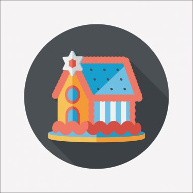 Gingerbread house flat icon with long shadow,eps10