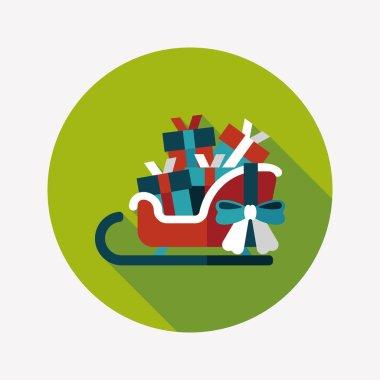 Christmas sleigh gift basket flat icon with long shadow,eps10