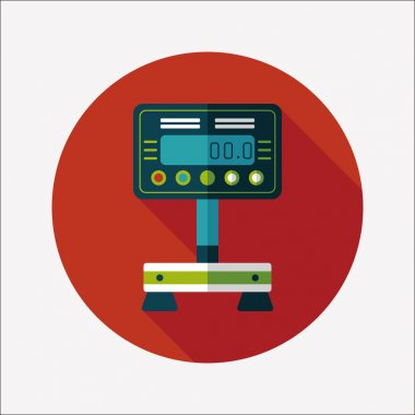 Weight scale flat icon with long shadow clip art vector