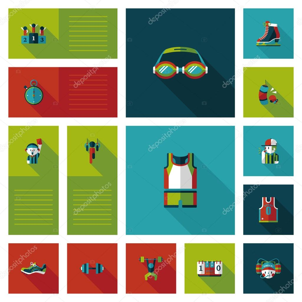 Sport flat ui bakcground set, eps10