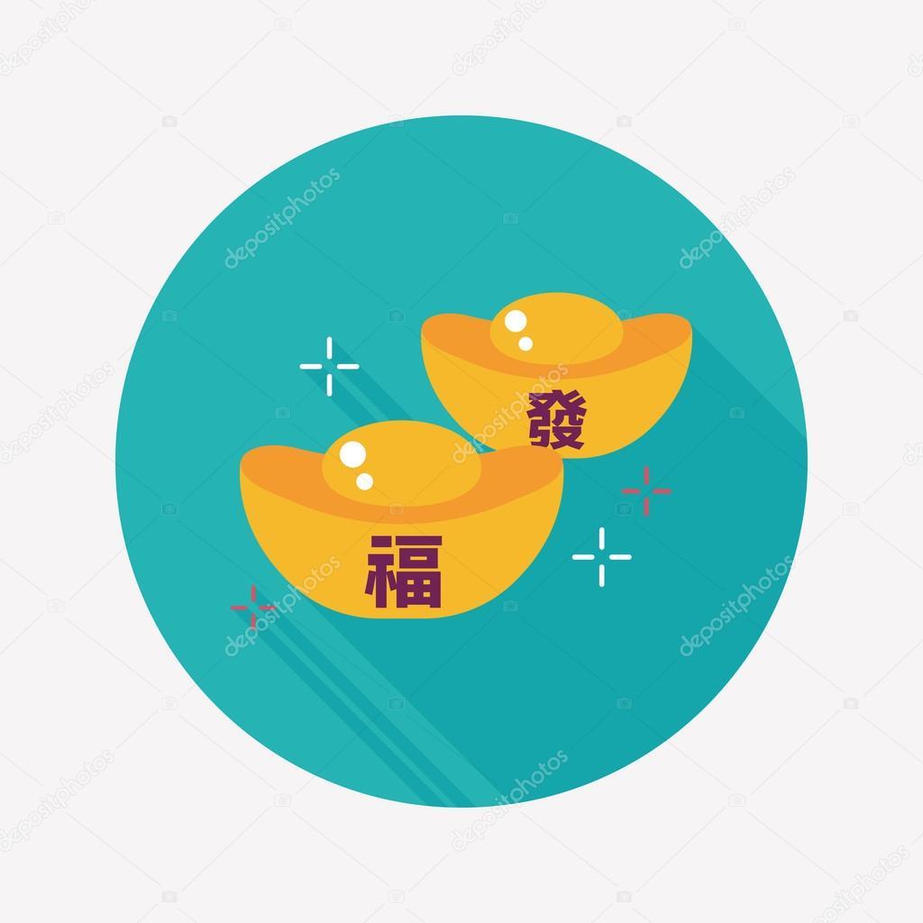 Chinesisches Neujahr-flach-Symbol mit langen Schatten, eps10 ...