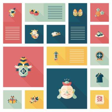 Chinese New Year flat ui background, eps10