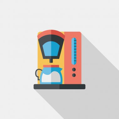coffee machine flat icon with long shadow,eps10