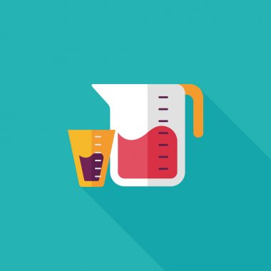 Kitchenware measuring cup flat icon with long shadow,eps10 clip art vector