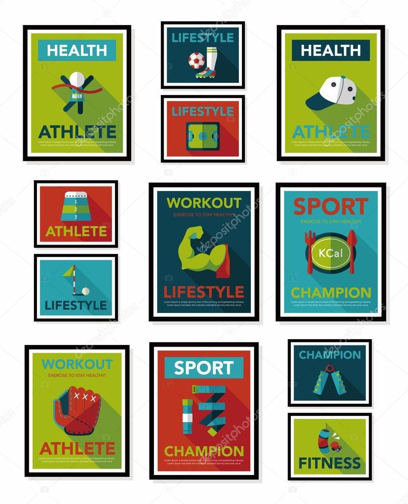 sport affiche banni re plat design fond plat ensemble eps10 image vectorielle eatcute 56540705. Black Bedroom Furniture Sets. Home Design Ideas