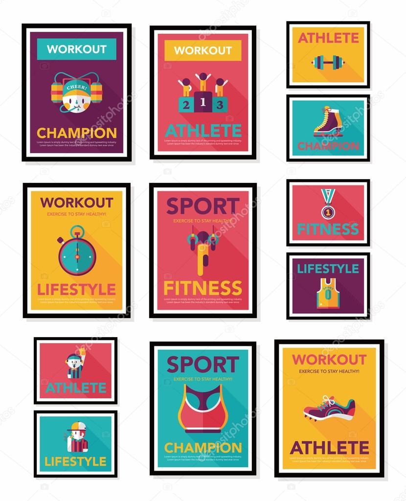 sport affiche banni re plat design fond plat ensemble eps10 image vectorielle eatcute 56540859. Black Bedroom Furniture Sets. Home Design Ideas
