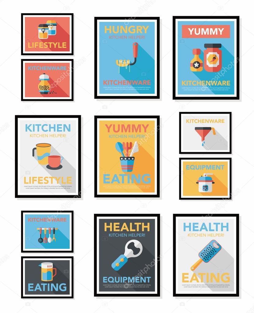 ustensiles de cuisine affiche banni re plat design fond plat ensemble eps10 image vectorielle. Black Bedroom Furniture Sets. Home Design Ideas