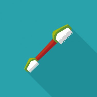 Pet teeth brush flat icon with long shadow,eps10