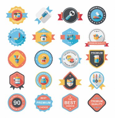 Kitchenware badge flat banner design background set, eps10