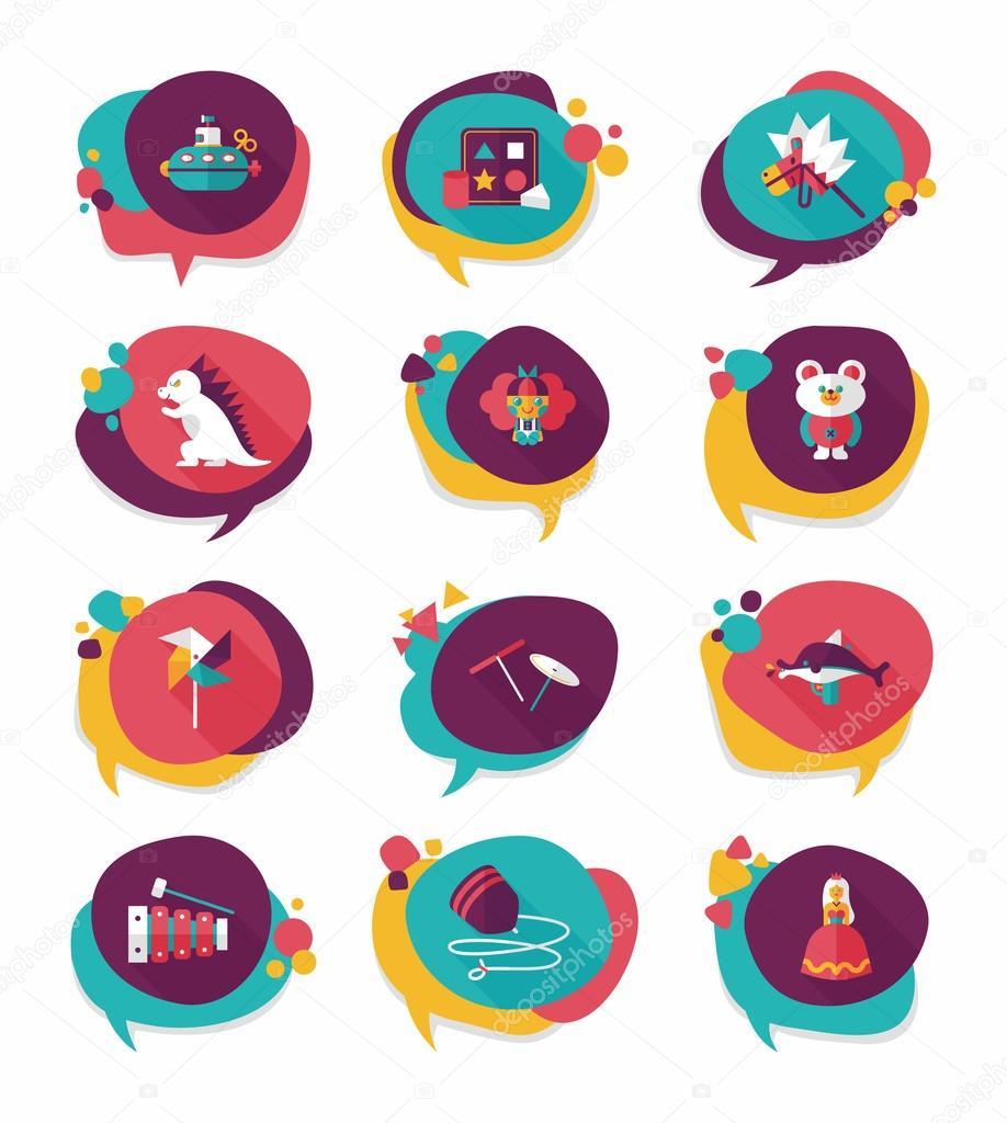 Text Bubble Toys For Tots : Jouet speech bubble bannière design fond plat ensemble